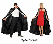 Adult DRACULA VAMPIRE  LONG CAPE Fancy Dress Costume Halloween Party Black & Red