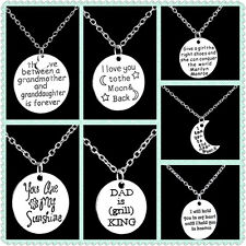 Fashion Round Shaped Alloy Necklace Family Letter Moon Pendant Chain Love Gift