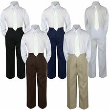 3pc Ivory off white Tie  Suit Shirt Pants Set Baby Boy Toddler Kid Uniform S-7
