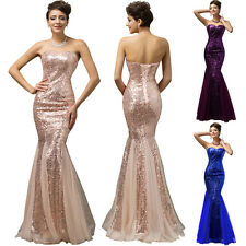 Womens Strapless Sequins Mesh Lace Up Banquet Evening Dress Long Prom Gown Party