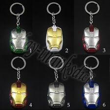 Super Hero The Avengers Iron Man Mask Face Metal Pendant Key Ring Chain With Box
