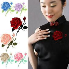 Rose Flower Iron-On Embroidered Patch Applique Motif Garment Decoration Craft FI