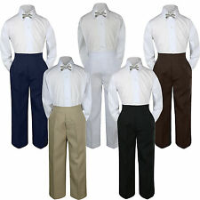 3pc Silver Bow Tie Suit Shirt Pants Set Baby Boy Toddler Kid  S-7