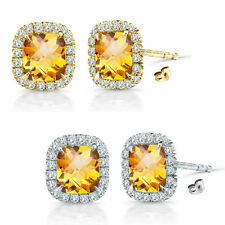 6mm Citrine Birth Gem Stone Stud Halo Solitaire Cushion Silver Pair Earrings