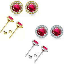 6mm Ruby Birth Gem Stone Stud Halo Solitaire Round Silver Pair Earrings