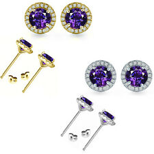6mm Amethyst Birth Gem Stone Stud Halo Solitaire Round Silver Pair Earrings
