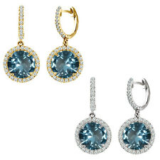 Aquamarine Birthstone Hoop Huggies Halo Solitaire Round Silver Dangling Earrings