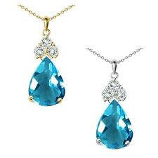 "Pear Shape Blue Topaz Gem Birth Stone Sterling Silver Pendant Necklace 18"" Chain"