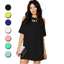 Womens Summer Casual Chiffon Dress European Style Short Sleeves Dew Shoulder