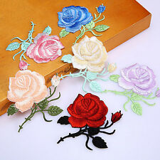 Rose Flower Iron-On Embroidered Patch Applique Motif Garment Decoration Craft CL