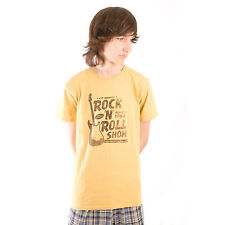 Life is Good Cymbal Yellow Rock 'N Roll Guitar T-Shirt Tee Good Vibes Mens NWT