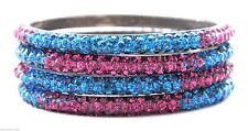 Indian Handcrafted 3 Rows Bling Crystal Fuchsia Pink Blue Bracelets Bangles 4pcs