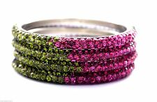 Indian Handcrafted 3 Rows Bling Crystal Henna Green Fuchsia Bracelets Bangles