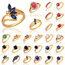 Luxury Crystal Jewelry Inlay 24K Gold Plated Noble Ring Engagement Wedding Rings