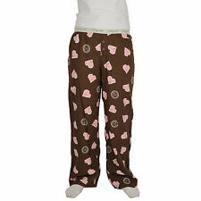 Life is Good Dark Chocolate Brown Pink Hearts Pajamas Lounge Pants Sleep PJs NWT