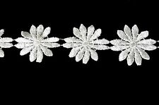 """Lily 2"""" Ivory Cuttable Venice Lace Daisy Flower Trim By Yard"""