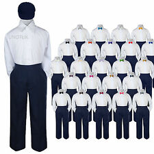 Baby Kid Boys Wedding Formal 4pc Set Shirt Navy Pants Bow Tie Hat Suit size S-7