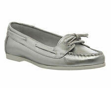 Womens Office Marina Lace SILVER LEATHER Flats