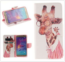 Pink Stripe Shirt Giraffe PU Leather Stand Wallet TPU Case Cover For Cell Phone