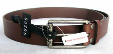 NEW GUESS BROWN/COGNAC LEATHER MENS BELT+DISTRESSED SILVER TONE SNAP OFF BUCKLE