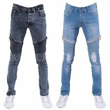 SEVEN SERIES MENS SKINNY FIT RIPPED DISTRESSED STRETCH DENIM BIKER JEANS PANTS