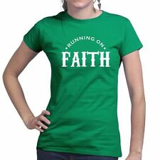Running Faith Fitness Sports Training Workout Ladies Womens T shirt Funny Gift