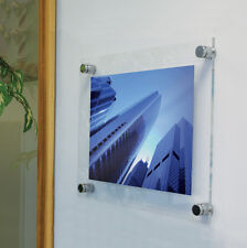 ACRYLIC WALL MOUNT POSTER PHOTO SIGN HOLDER c/w 4 x WALLMOUNT STANDOFF FIXINGS