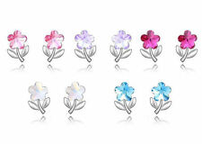 18K White Gold Plated Crystal Flower Earrings made with Swarovski Crystals