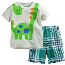 New!Short Sleeves Baby&Toddler Kid Boy Gray+Grid Pajama Set Clothing Dinosaur