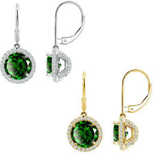 6mm Emerald Round CZ Lever Back Halo Dangling 14K White/Yellow Gold Earrings