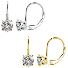 2 Ct CZ 6mm Round CZ Lever Back Dangling 14K White/Yellow Gold Earrings
