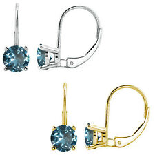 2 Ct Aquamarine 6mm Round CZ Lever Back Dangling 14K White/Yellow Gold Earrings