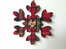 X - Large Tartan Covered Wooden Snowflake Xmas Decorations - Gisela Graham -Tags