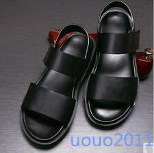 Fashion Mens Summer Beach Sandals Leather Fashion Black Causal Shoes US Size