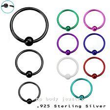"1PC. 22g~1/4"", 5/16"", 3/8"" Plated .925 Sterling Silver 2mm Fixed Ball Nose Hoop"