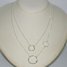 Sterling Silver 925 Chains and Hammered Eternity Circles Two Strand Necklace