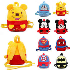 Girls Boys Cartoon Superman Spiderman Backpack Schoolbag Kids Plush Shoulder Bag