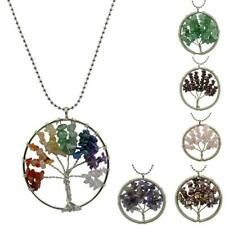 Natural Crystal Gemstone Chakra Wire Wrap Tree of Life Pendant Necklace Jewelry