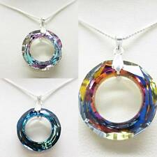 20mm Large COSMIC RING Round Crystal 925 Sterling Silver Pendant Necklace