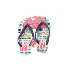 Be As You Are White Fish Sea Shells Sunshine Flip Flops Sandals Thong Shoes NEW