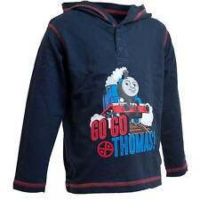 Boys Go Go! Thomas The Tank Engine Long Sleeve Hooded Top Cotton Navy Red 1-6yrs