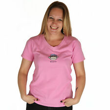 Life is Good Monkey Bonjour Ladies Pink V Neck Semi-Fitted Crusher T-Shirt NWT