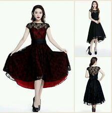 Gothic Dress Black VTG Steampunk Victorian vampire  Lace Evening formal dress