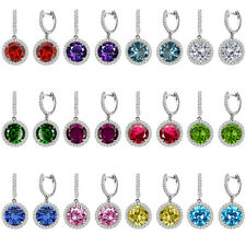 Birthstone Stud Hoop Huggies Halo Solitaire Round Silver Dangling Earrings Gem