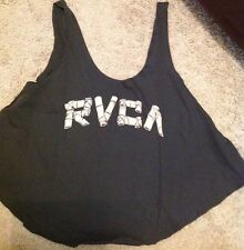 NWT RVCA Junior's Bamboo Loose Fit Graphic Tank Top Black Large Medium Small