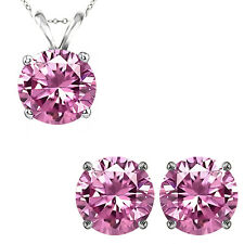 6mm Round CZ Pink Topaz Gemstone Pendant Earring Set 14K White Yellow Gold