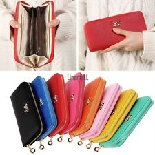 Fashion Women Long Card Holder Case PU Leather Clutch Wallet Purse Handbag LM
