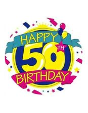 54 X HAPPY 50th BIRTHDAY EDIBLE WAFER/FONDANT PAPER CUP CAKE BUN TOPPERS