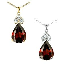 "Pear Shape Garnet Gem Birth stone Sterling Silver Pendant Necklace 18"" Chain"