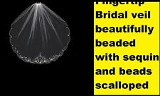 Bridal veil Beautiful Beads and sequin Scalloped Edge NWT different size